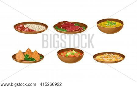 Brazilian Cuisine Dishes With Stewed Beans, Beef Slabs And Shrimp Soup Vector Set