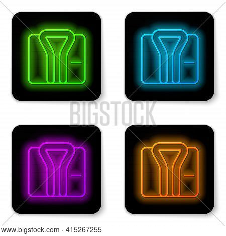 Glowing Neon Line Bathrobe Icon Isolated On White Background. Black Square Button. Vector