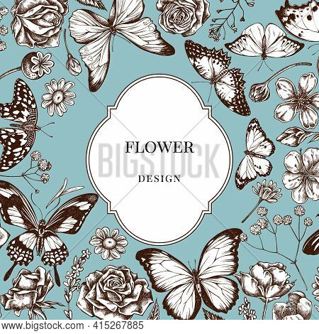 Badge Over Design With Shepherd S Purse, Heather, Iris Japonica, Sakura, Gypsophila, Chamomile, Almo