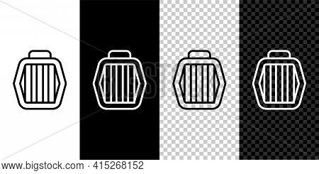 Set Line Pet Carry Case Icon Isolated On Black And White, Transparent Background. Carrier For Animal