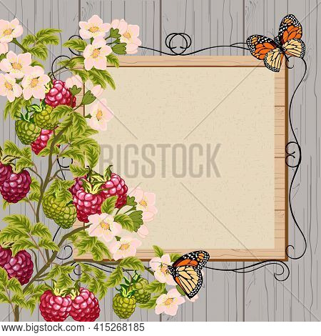 Illustration With Raspberries And Frame.raspberry Berries, Frame For Text And Butterflies In Vector