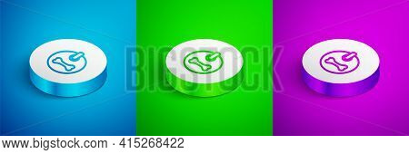 Isometric Line Dog Collar With Name Tag And Bone Plaque Icon Isolated On Blue, Green And Purple Back