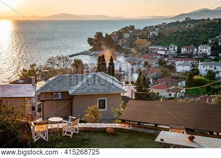 Sunset In Afissos, A Traditional Village Built Amphitheatrically On The Slopes Of Mount Pelion, With