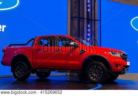 Nonthaburi, Thailand - March 25,2021 : View Of New Ford Ranger Fx4 Max Car On Display At Thailand In