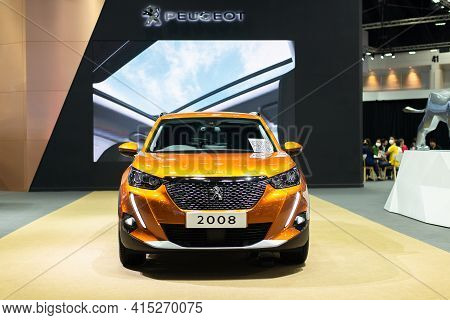 Nonthaburi, Thailand - March 25,2021 : View Of All New Peugeot 2008 Car On Display At Thailand Inter
