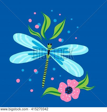 Cartoon Dragonfly. Doodle Bright Colorful Hand Drawn Insect With Leaves And Flowers, Flying Adder Pi