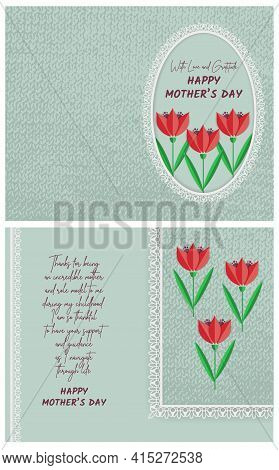 Happy Mother's Day With Love And Gratitude Postcard Template With A Fold In The Middle For Printing.