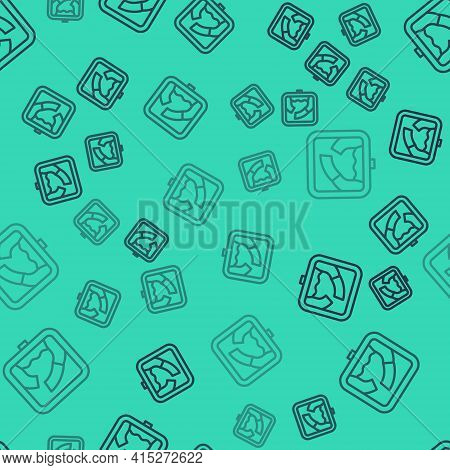 Black Line Drawbridge Ahead Icon Isolated Seamless Pattern On Green Background. Information Road Sig