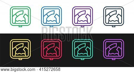 Set Line Drawbridge Ahead Icon Isolated On Black And White Background. Information Road Sign. Vector