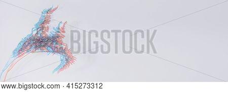 Dry Pink Blue Fern Branch With Glitch On Grey Wall, Copy Space, Web Banner. Fashion Digital Glitch V