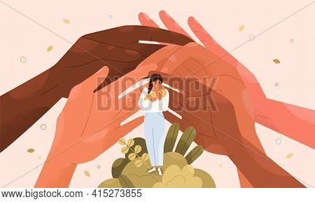 Concept Of Support And Protection Of Young Single Mothers With Babies. Help Hands And Assistance Of