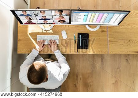 Video Conference Webinar Business Call On Multiple Monitor Screens