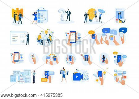 Set Of Modern Flat Design People Icons. Vector Illustration Concepts Of Networking, Online Communica