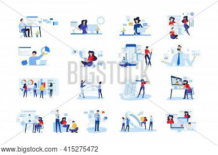 Set Of Modern Flat Design People Icons  Of Business Analytics And Planning, Video And Conference Cal