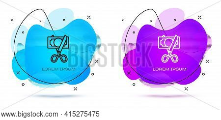 Line Scissors Cutting Money Icon Isolated On White Background. Price, Cost Reduction Or Price Reduct