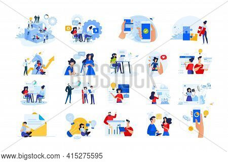 Set Of Modern Flat Design People Icons Of Start Up, Project Development, Business Strategy And Analy