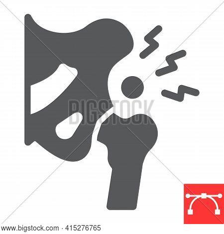 Hip Pain Glyph Icon, Osteoarthritis And Injury, Hip Dysplasia Vector Icon, Vector Graphics, Editable