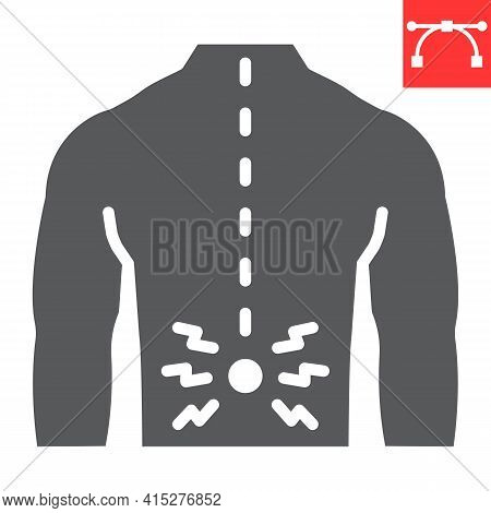 Back Pain Glyph Icon, Spine Pain And Human Back, Backache Vector Icon, Vector Graphics, Editable Str