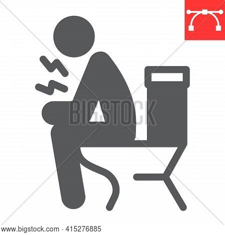Diarrhea Glyph Icon, Covid-19 And Constipation, Man Sitting On Toilet Vector Icon, Vector Graphics,