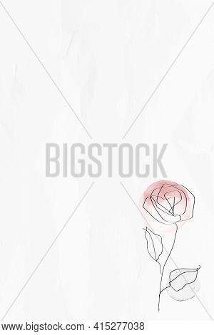 Textured background with rose feminine line art illustration