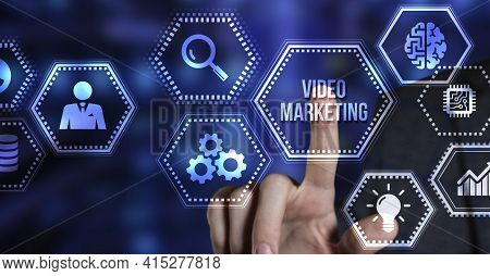 Internet, Business, Technology And Network Concept. Video Marketing And Advertising Concept On Scree