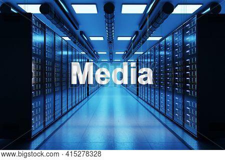 Media Logo In Large Data Center With Multiple Rows Of Network Internet Server Racks, 3d Illustration