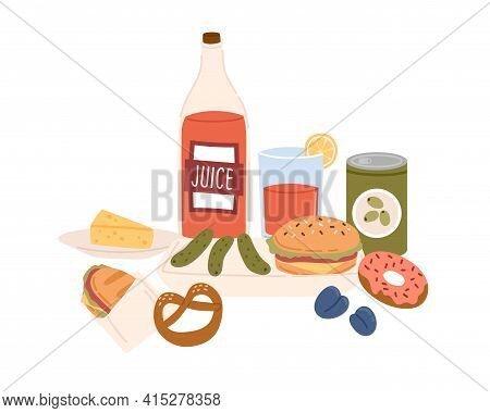 Served Unhealthy High-carb Snacks, Fast And Junk Food. Fat Burger, Hotdog, Pickles, Bottle Of Sweet