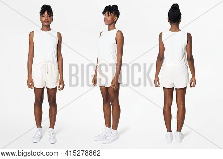 White tank top and shorts women's summer apparel
