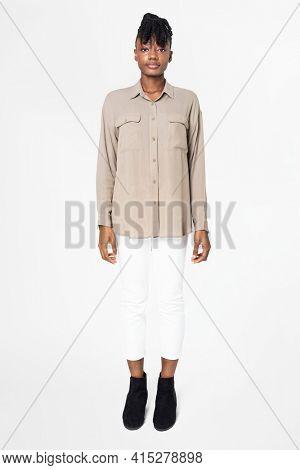 Women's beige blouse basic wear