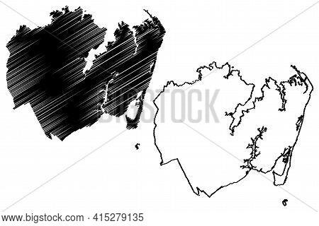 Hampton City, Virginia (united States Cities, United States Of America, Usa City) Map Vector Illustr