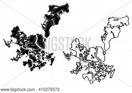 Charleston City, South Carolina (united States Cities, United States Of America, Usa City) Map Vecto