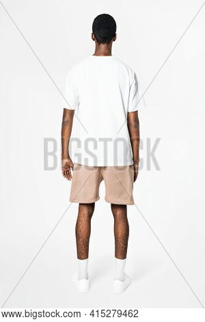 White t-shirt and shorts men's basic wear rear view