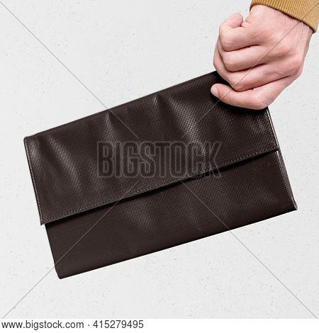 Fold over brown clutch with design space women's fashion