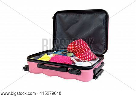 Open Pink Suitcase With Things For The Rest, Isolated On White. Family Travel Bag Packed To Vacation