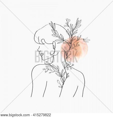 Aesthetic woman line art orange pastel in minimal botanical theme