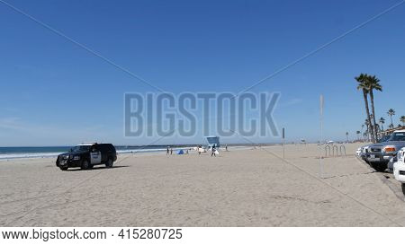 Oceanside, California Usa -26 Feb 2020: American Police Department Patrol Car, Squad, Interceptor Or