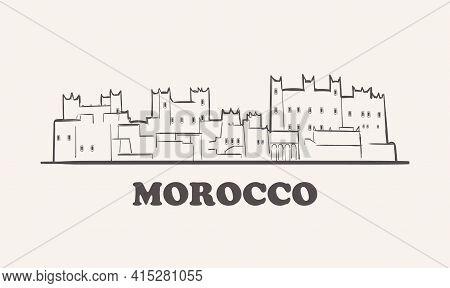 Morocco Skyline, Hand Drawn Sketch City Illustration