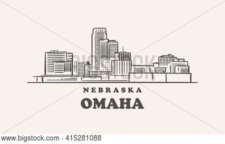 Omaha Skyline, Nebraska Drawn Sketch Usa City