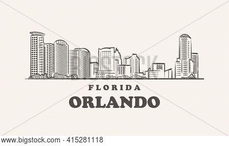 Orlando Skyline, Florida Drawn Sketch Usa City