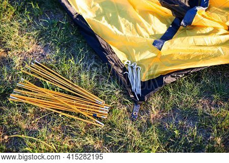 Aluminum Mounting Arcs, Pegs For Installation Tourist Yellow Tent And Waterproof Cloth On Ground. Li