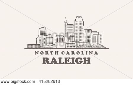 Raleigh Skyline, North Carolina Drawn Sketch American City