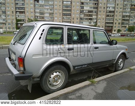 St. Petersburg, Russia - June, 2020: Popular Russian Manufactured Car Lada Niva Vaz 2131 Parked On R