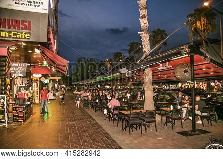 Alanya , Turkey- October 20, 2020:  The Grand Bazaar located in the old town the stores neighbor with cafes and bars in Alanya, Antalya district, Turkey, Asiaa