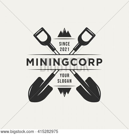 Mining Corp And Two Crossed Shovel Vintage Logo Template Vector. Retro Classic Mining, Miner Logo Co