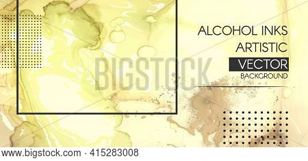 Vector Alcohol Inks. Liquid Marble Paint. Acrylic Oil Illustration. Trendy Simple Pattern. Color Alc