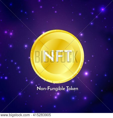 Golden Coin With Nft Non Fungible Token Text On Futuristic Neon Purple Background, Cryptocurrency Ba