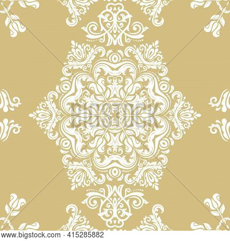 Orient Classic Pattern. Seamless Abstract Background With Vintage Elements. Orient Golden And White