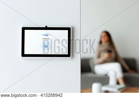 Home automation panel monitor on a wall