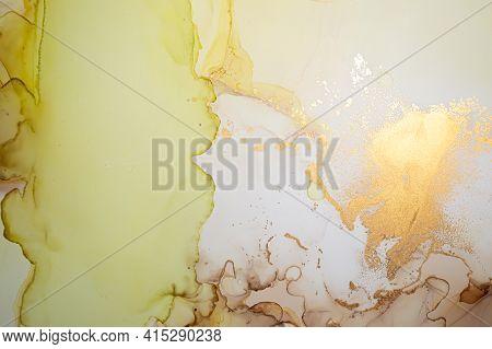 Vibrant Abstract Background Liquid. Alcohol Ink Drops. Elegant Flow Wallpaper. Oil Acrylic Effect. A