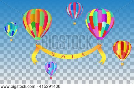 Sale Banner Template Design With Colorful Balloons / Hot Air Balloons On Translucent Sky Background